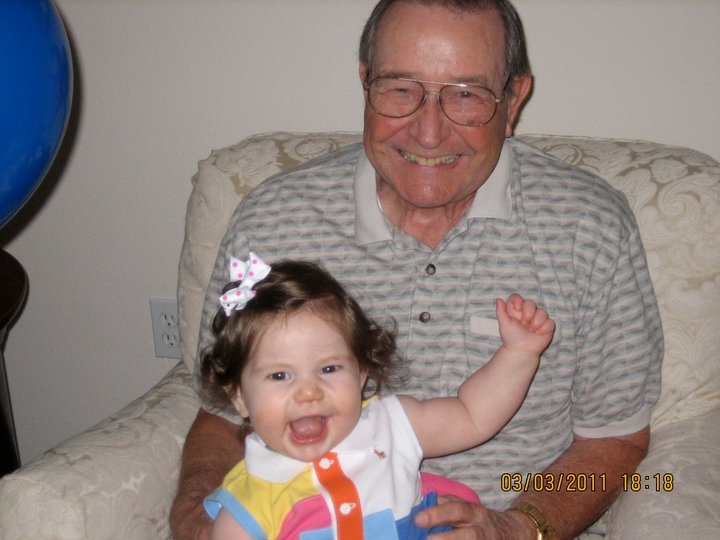 Dad and Lucy on his birthday in 2011